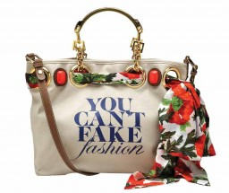 Tote bags bearing 'You Can't Fake Fashion' slogan  to raise awareness against counterfeit items